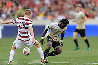 Houston, TX - Friday December 11, 2016: Derek Waldeck (29) of the Stanford Cardinal strips the ball from Ema Twumasi (22) of the Wake Forest Demon Deacons at the NCAA Men's Soccer Finals at BBVA Compass Stadium in Houston Texas.