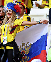 SARANSK - RUSIA, 19-06-2018: Hinchas de Colombia animan a su equipo durante partido de la primera fase, Grupo H, entre Colombia y Japón por la Copa Mundial de la FIFA Rusia 2018 jugado en el estadio Mordovia Arena en Saransk, Rusia. / Fans of Colombia cheer for their team during the match between Colombia and Japan of the first phase, Group H, for the FIFA World Cup Russia 2018 played at Mordovia Arena stadium in Saransk, Russia. Photo: VizzorImage / Julian Medina / Cont