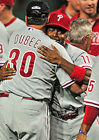 27 September 2010: Philadelphia Phillies' infielder  Jimmy Rollins celebrates with teammates and coaches after a division-clinching shutout against the Washington Nationals at Nationals Park in Washington, DC. With the 8-0 win, the Philles become the National League Eastern Division Champions. Mandatory Credit: Ed Wolfstein Photo