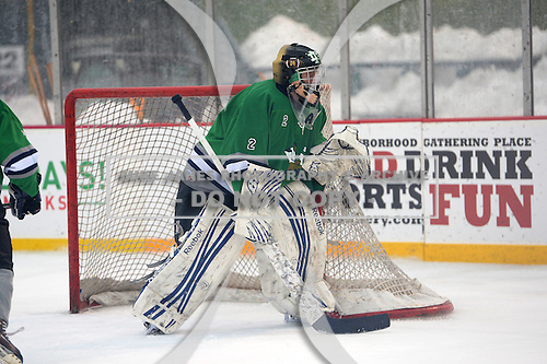 Notre Dame Fighting Irish of Batavia goalie Andrew Cheverie (2) during a varsity ice hockey game against the Brockport Blue Devils during the Section V Rivalry portion of the Frozen Frontier outdoor hockey event at Frontier Field on December 22, 2013 in Rochester, New York.  (Copyright Mike Janes Photography)