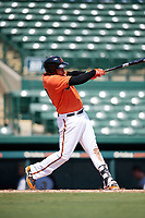 Baltimore Orioles Jomar Reyes (70) at bat during an Instructional League game against the Pittsburgh Pirates on September 27, 2017 at Ed Smith Stadium in Sarasota, Florida.  (Mike Janes/Four Seam Images)