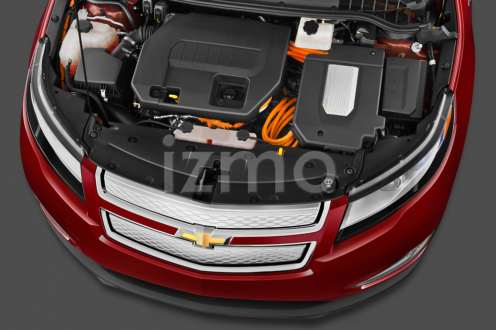 High angle engine detail of a 2011 Chevrolet Volt