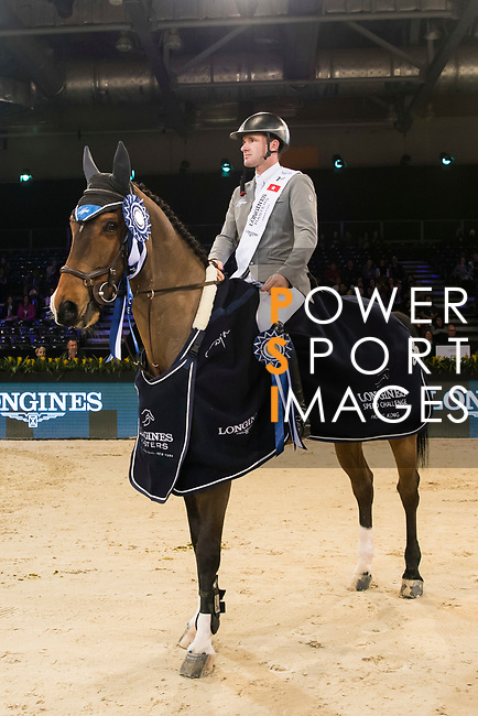 Philipp Weishaupt of Germany riding Chacon celebrates winning the Longines Speed Challenge during the Longines Masters of Hong Kong at AsiaWorld-Expo on 10 February 2018, in Hong Kong, Hong Kong. Photo by Diego Gonzalez / Power Sport Images