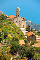 Chapels on the hill side of the Amalfi coast near Amalfi, Italy