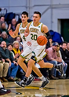 8 December 2018: University of Vermont Guards Ernie Duncan (20), a Redshirt Senior, and his younger brother Robin Duncan (4) a Freshman, both from Evansville, IN, in first half action against the Harvard University Crimson at Patrick Gymnasium in Burlington, Vermont. The America East Catamounts rallied to defeat the Ivy League Crimson 71-65 in NCAA Division I inter-league play. Mandatory Credit: Ed Wolfstein Photo *** RAW (NEF) Image File Available ***
