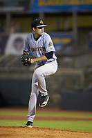 Charleston RiverDogs starting pitcher Charlie Ruegger (26) in action against the Hickory Crawdads at L.P. Frans Stadium on August 10, 2019 in Hickory, North Carolina. The RiverDogs defeated the Crawdads 10-9. (Brian Westerholt/Four Seam Images)