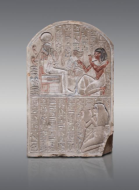 Ancient Egyptian stele dedicated to the god Khonsu by draftsman Pay, limestone, New Kingdom, 19th Dynasty, (1279-1213 BC), Deir el-Medina, ODrovetti cat 1553. Egyptian Museum, Turin. Grey background