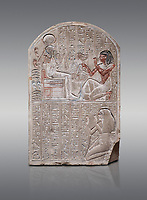 Ancient Egyptian stele dedicated to the god Khonsu by draftsman Pay, limestone, New Kingdom, 19th Dynasty, (1279-1213 BC), Deir el-Medina, ODrovetti cat 1553. Egyptian Museum, Turin. Grey background