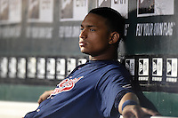 Gwinnett Braves catcher Christian Bethancourt (27) in the dugout during a game against the Buffalo Bisons on May 13, 2014 at Coca-Cola Field in Buffalo, New  York.  Gwinnett defeated Buffalo 3-2.  (Mike Janes/Four Seam Images)
