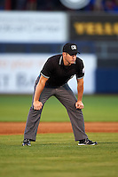 Umpire Lee Meyers during a game between the Midland RockHounds and Tulsa Drillers on June 2, 2015 at Oneok Field in Tulsa, Oklahoma.  Midland defeated Tulsa 6-5.  (Mike Janes/Four Seam Images)