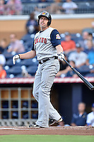 Toledo Mud Hens third baseman Mike Hessman #27 swings at a pitch during a game against the Durham Bulls at Durham Bulls Athletic Park on July 25, 2014 in Durham, North Carolina. The Mud Hens defeated the Bulls 5-3. (Tony Farlow/Four Seam Images)