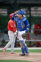 GCL Blue Jays catcher Francisco Ruiz (9) during a game against the GCL Phillies West on August 7, 2018 at Bobby Mattick Complex in Dunedin, Florida.  GCL Blue Jays defeated GCL Phillies West 11-5.  (Mike Janes/Four Seam Images)