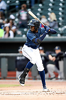 Shortstop Ronny Mauricio (2) of the Columbia Fireflies bats in a game against the Charleston RiverDogs on Friday, April 5, 2019, at Segra Park in Columbia, South Carolina. Charleston won, 6-1. (Tom Priddy/Four Seam Images)
