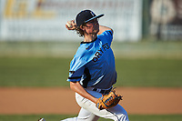 Dry Pond Blue Sox starting pitcher Garrett Lynch (7) (Hopewell HS) in action against the Mooresville Spinners at Moor Park on July 2, 2020 in Mooresville, NC.  The Spinners defeated the Blue Sox 9-4. (Brian Westerholt/Four Seam Images)