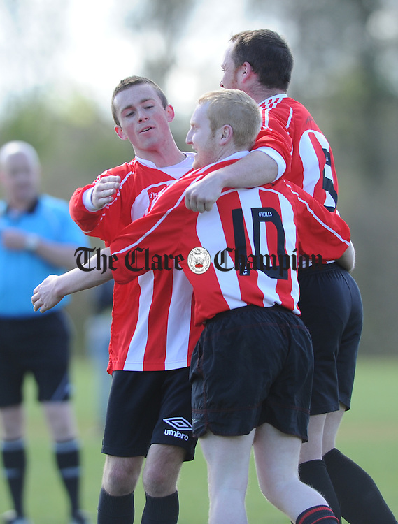 Bridge United's Kieran Quinlan and mark Culbert celebrates a goal against Rhine Rovers with Adrian Whyte during their game at Lees Road. Photograph by John Kelly.