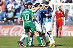 CD Leganes' players celebrate goal during La Liga match. October 15,2016. (ALTERPHOTOS/Acero)