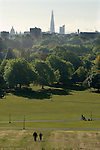 London Skyline 2012.  Shard, St Pauls Cathedral, Primrose Hill. North London UK. looking south.