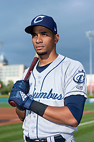 Columbus Clippers outfielder Oscar Mercado (2) poses for a photo before an International League game against the Indianapolis Indians at Victory Field on April 29, 2019 in Indianapolis, Indiana. (Zachary Lucy/Four Seam Images)