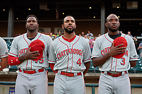 Chattanooga Lookouts Ibandel Isabel (45), Narciso Crook (4), and Calten Daal (3) during the national anthem before a Southern League game against the Birmingham Barons on May 2, 2019 at Regions Field in Birmingham, Alabama.  Birmingham defeated Chattanooga 4-2.  (Mike Janes/Four Seam Images)