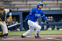 Indiana State Sycamores outfielder Roby Enriquez (17) follows through on his swing against the Michigan Wolverines on April 10, 2019 in the NCAA baseball game at Ray Fisher Stadium in Ann Arbor, Michigan. Michigan defeated Indiana State 6-4. (Andrew Woolley/Four Seam Images)