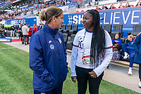 HARRISON, NJ - MARCH 08: Erica Dambach of the United States talks to Semahj Ware, the SheBelieves Hero during a game between Spain and USWNT at Red Bull Arena on March 08, 2020 in Harrison, New Jersey.