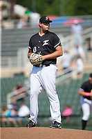 Kannapolis Intimidators relief pitcher Taylore Cherry (43) looks to his catcher for the sign against the Lakewood BlueClaws at Kannapolis Intimidators Stadium on May 8, 2016 in Kannapolis, North Carolina.  The Intimidators defeated the BlueClaws 3-2.  (Brian Westerholt/Four Seam Images)