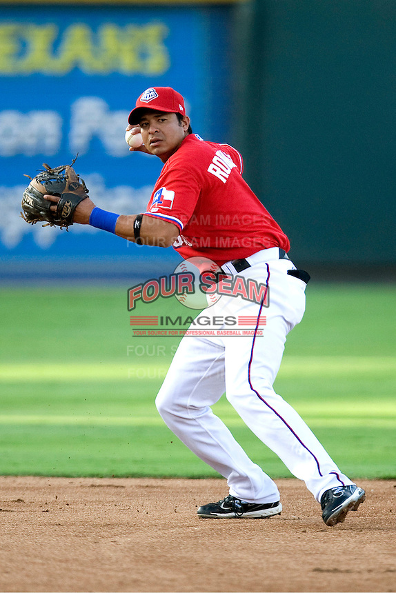 Round Rock Express shortstop Guilder Rodriguez #1 prepares to throw to first during a game against the New Orleans Zephyrs at the Dell Diamond on July 20, 2011 in Round Rock, Texas.  New Orleans defeated Round Rock 14-11.  (Andrew Woolley/Four Seam Images)