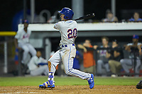 Jarred Kelenic (20) of the Kingsport Mets follows through on his swing against the Burlington Royals at Burlington Athletic Stadium on July 27, 2018 in Burlington, North Carolina. The Mets defeated the Royals 8-0.  (Brian Westerholt/Four Seam Images)