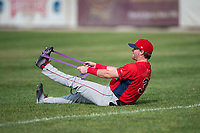 Orem Owlz infielder Justin Jones (33) stretches before a Pioneer League game against the Missoula Osprey at Ogren Park Allegiance Field on August 19, 2018 in Missoula, Montana. The Missoula Osprey defeated the Orem Owlz by a score of 8-0. (Zachary Lucy/Four Seam Images)