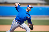 Toronto Blue Jays pitcher Justin Dillon (72) during a Minor League Spring Training Intrasquad game on March 14, 2018 at Englebert Complex in Dunedin, Florida.  (Mike Janes/Four Seam Images)