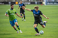 SAN JOSE, CA - OCTOBER 18: Florian Jungwirth #23 of the San Jose Earthquakes passes the ball during a game between Seattle Sounders FC and San Jose Earthquakes at Earthquakes Stadium on October 18, 2020 in San Jose, California.