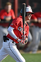 Shortstop Utah Jones (2) of the North Greenville Crusaders bats a game against the Palm Beach Atlantic Sailfish on Monday, February 25, 2019, at Ashmore Park in Tigerville, South Carolina. Palm Beach won, 7-5. (Tom Priddy/Four Seam Images)