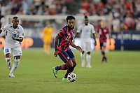 KANSAS CITY, KS - JULY 15: Eryk Williamson #19 of the United States dribbles with the ball during a game between Martinique and USMNT at Children's Mercy Park on July 15, 2021 in Kansas City, Kansas.