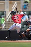 Mitch Roman (10) of the Kannapolis Intimidators at bat against the Asheville Tourists at Kannapolis Intimidators Stadium on May 7, 2017 in Kannapolis, North Carolina.  The Tourists defeated the Intimidators 4-1.  (Brian Westerholt/Four Seam Images)