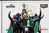 #10: Konica Minolta Acura ARX-05 Acura DPi, DPi: Ricky Taylor, Filipe Albuquerque, Alexander Rossi, Helio Castroneves, podium, with team owner Wayne Taylor
