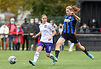 Stefania Vatafu (10 Anderlecht) pictured in a duel with Marie Minnaert (13 Brugge) during a female soccer game between Club Brugge Dames YLA and RSC Anderlecht Ladies on the fifth matchday of the 2020 - 2021 season of Belgian Scooore Womens Super League , sunday 18 October 2020  in Brugge , Belgium . PHOTO SPORTPIX.BE | SPP | DAVID CATRY