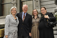 Montreal (Qc) CANADA -August 2008 - Judge John Gomery , wife and daughters outside Mount-Stephen club where he adressed the Canadian Club of Montreal.<br /> <br /> Gomery was in charge of the Commission of Inquiry into the Sponsorship Program and Advertising Activities.
