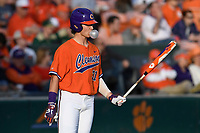 Center fielder Bryce Teodosio (31) of the Clemson Tigers waits on deck in a game against the William and Mary Tribe on February 16, 2018, at Doug Kingsmore Stadium in Clemson, South Carolina. Clemson won, 5-4 in 10 innings. (Tom Priddy/Four Seam Images)
