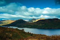 Loch Katrine, Stob a Choin and Meall Reamhar from the Aqueduct Path near Stronachlachar, Loch Lomond and the Trossachs National Park, Stirlingshire