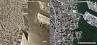 aerial photograph then and now comparison Miami, Florida 1961 and 2007