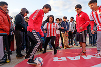 Harrison, NJ - Tuesday April 10, 2018: Fans, New York Red Bulls street team prior to leg two of a  CONCACAF Champions League semi-final match between the New York Red Bulls and C. D. Guadalajara at Red Bull Arena. C. D. Guadalajara defeated the New York Red Bulls 0-0 (1-0 on aggregate).