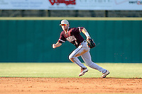 Shortstop Champ Rowland (4) of the College of Charleston Cougars runs down a ground ball in a game against the University of South Carolina Upstate Spartans on Tuesday, March 31, 2015, at Cleveland S. Harley Park in Spartanburg, South Carolina. Charleston won, 10-0. (Tom Priddy/Four Seam Images)