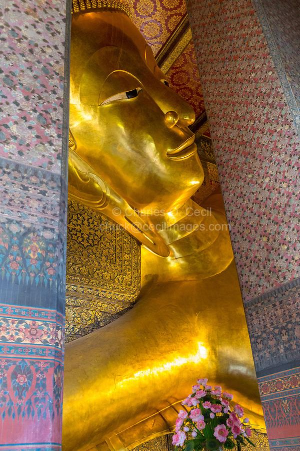 Bangkok, Thailand.  Reclining Buddha, Wat Pho Temple Complex.