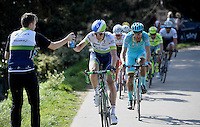 Jens Keukeleire (BEL/Orica-GreenEDGE) receiving a bidon on the fly<br /> <br /> 100th Ronde van Vlaanderen 2016