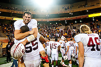 TEMPE, AZ - November 13, 2010: Andrew Luck and Jonathan Martin during a football game at Arizona State University in Tempe, Arizona. Stanford won 17-13.