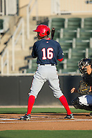 Victor Robles (16) of the Hagerstown Suns at bat against the Kannapolis Intimidators at Kannapolis Intimidators Stadium on May 4, 2016 in Kannapolis, North Carolina.  The Intimidators defeated the Suns 7-4.  (Brian Westerholt/Four Seam Images)