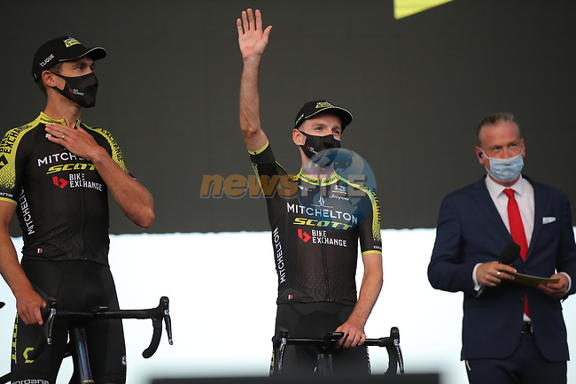 Adam Yates (GBR) Mitchelton-Scott on stage at the team presentation before the Tour de France 2020, Nice, France. 27th August 2020.<br /> Picture: ASO/Thomas Maheux | Cyclefile<br /> All photos usage must carry mandatory copyright credit (© Cyclefile | ASO/Thomas Maheux)