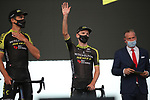 Adam Yates (GBR) Mitchelton-Scott on stage at the team presentation before the Tour de France 2020, Nice, France. 27th August 2020.<br /> Picture: ASO/Thomas Maheux   Cyclefile<br /> All photos usage must carry mandatory copyright credit (© Cyclefile   ASO/Thomas Maheux)