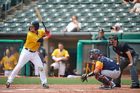 Matt Thaiss (6) of the Salt Lake Bees at bat against the Las Vegas Aviators while Carlos Pèrez (3) of the Las Vegas Aviators catches and home plate umpire Anthony Perez handles the calls at Smith's Ballpark on July 25, 2021 in Salt Lake City, Utah. The Aviators defeated the Bees 10-6. (Stephen Smith/Four Seam Images)