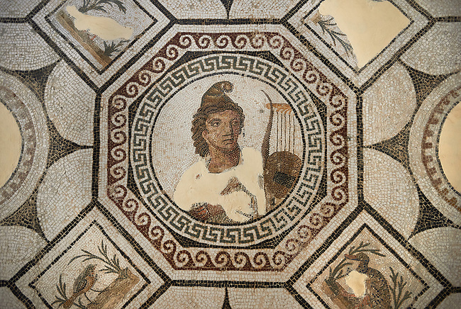 Picture of a Roman mosaics design depicting Orpheus, god of music, playing his lyre surrounded by animals charmed by his music, from the ancient Roman city of Thysdrus, Bir Zid area. 2nd century AD. El Djem Archaeological Museum, El Djem, Tunisia.